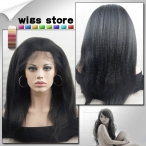 Full Lace Wigs Kinky Straight 100% Indian Remy Human Hair Baby Hair Bleached knots