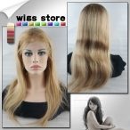 18'' #27/613 Lace Front Wigs Silky Straight 100% Human Indian Remy hair Baby Hair