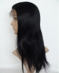 Natural hair wigs human hair lace front wigs 18 inch #1b