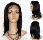 Full lace wigs for black women silk top coarse yaki indian remy human hair 14 inch #1b