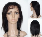 Glueless silk top lace front wigs coarse yaki indian remy human hair 10 inch #1b