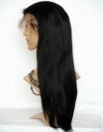 Glueless lace front human hair wigs yaki indian remy human hair 20 inch #1