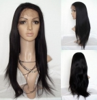 Glueless silk top lace wigs coarse yaki indian remy human hair 22 inch #1b