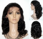human body wave hair silk top full lace wigs 18 inch #1b