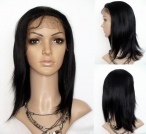 glueless wig silk top silky full lace indian remy human hair 10 inch #1b