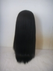 human hair full lace wigs silk top light yaki 18 inch #1 jet black
