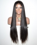 Cheap human hair lace front wigs indian remy hair 24 inch #1b