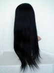 Glueless remy lace wigs human hair yaki straight 18 inch #1