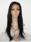 Glueless indian remy full lace wigs human hair yaki straight 18 inch #1b
