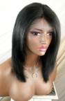 Human hair glueless lace front wigs yaki straight