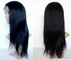 Half human hair wigs for black women silky straight lace front wigs
