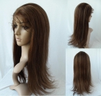 Human hair half wig silky straight for white women