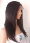 Silk top lace wig hidden knots for white women silky straight
