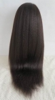 Silk top full lace wigs glueless cap human hair Italian yaki for women 22 inch #1b