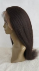 100% human hair silk top glueless full lace wigs Italian yaki for women 20 inch #1b