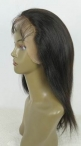 Afro wigs human hair glueless with silk top natural straight 12 inch #1b