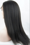 Italian yaki glueless lace wig Indian  human hair  Bleached knots with baby hair