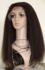 glueless full lace wigs with silk top 100% Indian remy hair full lace wigs  inch kinky straight