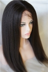 Italian Yaki Natural Color Glueless Full Lace With Silk Top Wigs
