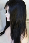 Remy yaki human hair full lace wigs indian remy hair 16 inch #1b