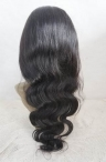 18'' #1B glueless with silk top human hair wigs for black women for coarse yaki body wave