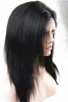 human lace wigs glueles with silk top yaki straight 14inch color #1b with baby hair knots bleached