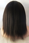 Full lace 12 inch Italian yaki for black women Indian remy human hair color #1b