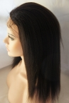 No glue full lace cap Italian yaki texture Indian remy human hair 12 inch color #1b