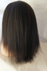 No glue full lace 14 inch 1b Italian yaki texture for African American women-Indian remy hair