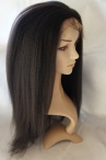 Free parting glueless full lace wig Italian yaki 18 inch color #1b Indian remy hair