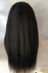 Free parting glueless full lace wig Italian yaki 20 inch color #1b Indian remy hair