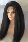 Lace front glueless wig Italian yaki 20 inch #1b Indian remy hair with silk top