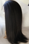 No glue free parting full lace wig Italian yaki 22 inch color #1b Indian remy hair