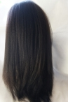 Glueless with silk top free parting full lace wig Italian yaki 22 inch color #1b Indian remy hair