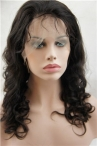 No glue 18 inch natural color deep wave full lace with silk top wig Indian remy human hair