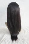 Silk top human hair lace wigs for black women coarse yaki 18 inch #1b