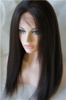 Italian Yaki Natural Color  Full Lace real human hair Wigs Indian remy hair