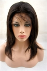 Chinese virgin hair natural straight glueless wth silk top full lace wig 12inch natural color