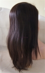 Glueless full lace cap Indian remy human hair coarse yaki 18 inch color #2