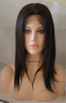 Glueless Silk top lace front wig coarse yaki Indian remy human hair 12 inch #2