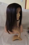 Glueless full lace wigs with silk top coarse yaki Indian remy human hair 14 inch #2