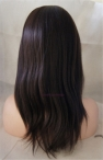 Lace front wig with silk top for black women Indian remy human hair yaki straight 14 inch color #2