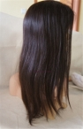 Indian remy human hair 18 inch #2 light yaki glueless lace front with weft on back and silk top