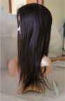 Glueless lace front with weft on back wigs light yaki Indian remy human hair 18 inch #2