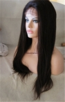 High quality full Swiss lace wigs coarse yaki Indian remy hair 20 inch color #2