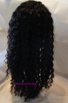 Deep wave glueless full lace wig with silk top 20inch 1b Indian remy human hair