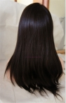 Glueless full lace silk top wigs Chinese virgin hair yaki straight 18 inch color #2