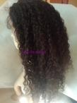 Indian remy hair deep wave 18inch #2 lace front wig with silk top