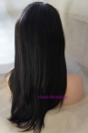 cheapest human hair wigs natural straight lace front silk top wigs remy hair 16 inch #1b