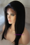 Full lace wigs with silk top indian remy hair natural straight 14 inch #1b